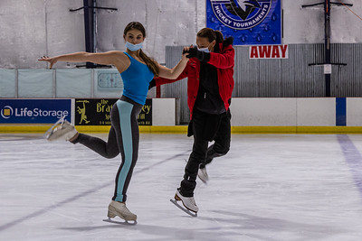 Figure skating instructor Nataliya Ivannikova coaches student Sasha Fradlin the proper sequence for the routine she is learning at Palm Beach Skate Zone, Thursday, October 8, 2020. An instructor for 30 years, Ivannikova spent the morning coaching a Fradlin who has been skating for four years. (JOSEPH FORZANO / THE PALM BEACH POST)