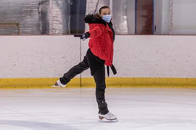 Figure skating instructor Nataliya Ivannikova skates at Palm Beach Skate Zone, Thursday, October 8, 2020. An instructor for 30 years, Ivannikova spent the morning coaching a student. (JOSEPH FORZANO / THE PALM BEACH POST)