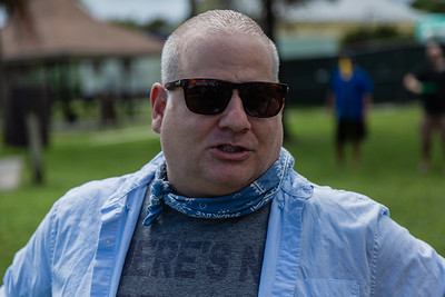 """Michael Crain, Executive Chef at the Country Club of Mirasol, at a Celebration of Life for Jacqueline """"Jackie"""" Barthelemy at Loggerhead Park in Juno Beach, Saturday, October 10, 2020. Crain and Barthelemy worked together at Mirasol. Barthelemy was fatally shot on September 11, 2020. (JOSEPH FORZANO / THE PALM BEACH POST)"""