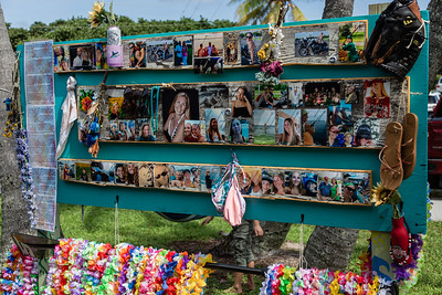 """A memory board for Jacqueline """"Jackie"""" Barthelemy, filled with photos and mementos was constructed outside the pavilion at Loggerhead Park in Juno Beach, Saturday, October 10, 2020. Barthelemy was fatally shot on September 11, 2020. (JOSEPH FORZANO / THE PALM BEACH POST)"""