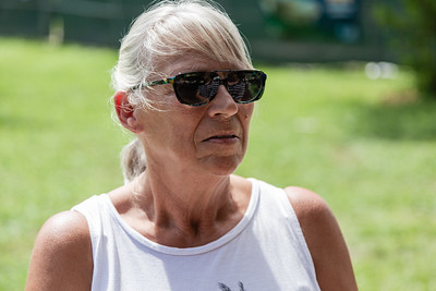 """Linda Sprouse, of Kettering, Ohio, mother of Jacqueline """"Jackie"""" Barthelemy, at a Celebration of Life for Barthelemy at Loggerhead Park in Juno Beach, Saturday, October 10, 2020. Barthelemy was fatally shot on September 11, 2020. (JOSEPH FORZANO / THE PALM BEACH POST)"""