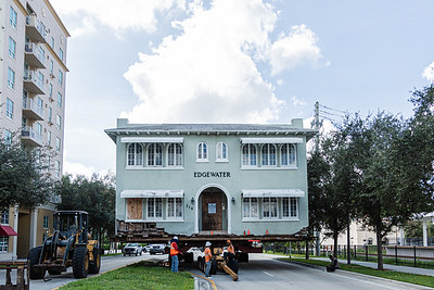 The historic Edgewater building is being moved along Quadrille Blvd. in West Palm Beach, from it's location on Gardenia Street to the corner of Division Avenue and 4th Street, Sunday, October 11, 2020. The 1920′s-era rooming house at 316 Gardenia, is headed for a new life as a bed and breakfast in the city's Historic Northwest. (JOSEPH FORZANO / THE PALM BEACH POST)