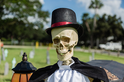 The skeletal driver of the funeral hearse at the Wellington Drive-Thru Creepy Crawl at Village Park, Wednesday, October 14, 2020. The Creepy Crawl will take place on Saturday, October 17 starting at 6 p.m. Visitors will drive their cars through Village Park in one direction and pass a series of scare areas, including an area designed for older kids with more intense scares. (JOSEPH FORZANO / THE PALM BEACH POST)