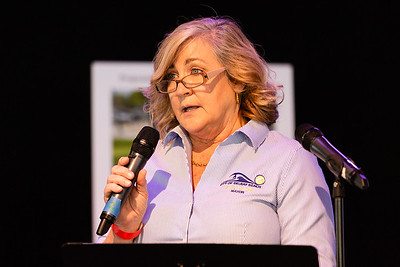 Delray Beach Mayor Shelly Petrolia speaks at the Corey Jones Memorial Day event at the Arts Garage in Delray Beach, Friday, October 16, 2020. Corey Jones was shot and killed by former Palm Beach Gardens Police Officer Nouman Raja on October 18, 2015.(JOSEPH FORZANO / THE PALM BEACH POST)