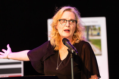 Marjorie Waldo, President and CEO of the Arts Garage speaks at the Corey Jones Memorial Day event at the Arts Garage in Delray Beach, Friday, October 16, 2020. Corey Jones was shot and killed by former Palm Beach Gardens Police Officer Nouman Raja on October 18, 2015.(JOSEPH FORZANO / THE PALM BEACH POST)