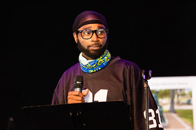 Clinton Jones Jr., brother of Corey Jones, speaks at the Corey Jones Memorial Day event at the Arts Garage in Delray Beach, Friday, October 16, 2020. Corey Jones was shot and killed by former Palm Beach Gardens Police Officer Nouman Raja on October 18, 2015.(JOSEPH FORZANO / THE PALM BEACH POST)