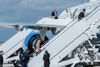 President Donald J. Trump boards Air Force One at Palm Beach International Airport in West Palm Beach, Saturday, October 24, 2020. The president cast an early ballot for the 2020 presidential election at the main branch of the Palm Beach County library on Summit Blvd. in West Palm Beach. (JOSEPH FORZANO / THE PALM BEACH POST)