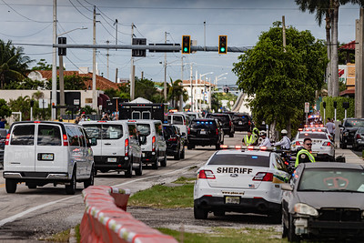 The Presidential motorcade travels west along Southern Blvd. as it heads to the main branch of the Palm Beach County library on Summit Blvd. in West Palm Beach, Saturday, October 24, 2020. President Donald J. Trump cast his ballot for the 2020 presidential election at the library this morning. (JOSEPH FORZANO / THE PALM BEACH POST)
