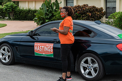 DeBorah Posey Blocker of West Palm Beach and volunteer for Congressman Alcee Hastings was part of the Souls to the Polls event, Sunday, October 25, 2020. Members of the congregation were escorted to the polling place at Wells Recreation Center in Riviera Beach. The event was organized by Faith in Florida. (JOSEPH FORZANO / THE PALM BEACH POST)