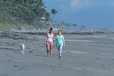 A mother and daughter walk their dog on Jupiter Beach in Jupiter, Monday, October 26, 2020. (JOSEPH FORZANO / THE PALM BEACH POST)
