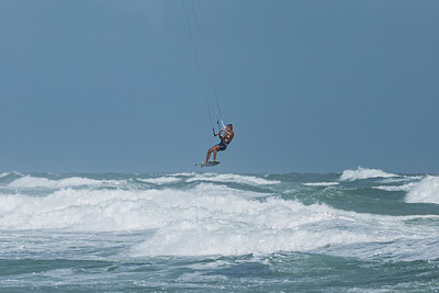 A kite surfer gets big air over the waters off of Jupiter Beach in Jupiter, where winds from the passing of Tropical Storm Eta reached upwards of 20 knots, Monday, November 9, 2020. (JOSEPH FORZANO / THE PALM BEACH POST)