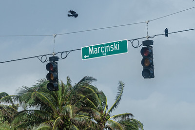 The north/south traffic lights were out at the intersection of Marcinksi Road and Ocean Drive in Juno Beach after the passing of Tropical Storm Eta, Monday, November 9, 2020. (JOSEPH FORZANO / THE PALM BEACH POST)