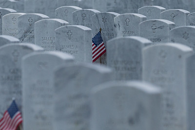 An American Flag sits partially hidden in front of a headstone of a fallen veteran  at the South Florida National Cemetery in Lake Worth on Veteran's Day, Wednesday, November 11, 2020. (JOSEPH FORZANO / THE PALM BEACH POST)