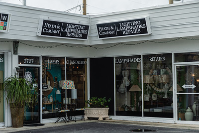 Storefront of Heath & Company Lighting and Lampshade Repairs on Antique Row in West Palm Beach, Wednesday, November 11, 2020. (JOSEPH FORZANO / THE PALM BEACH POST)