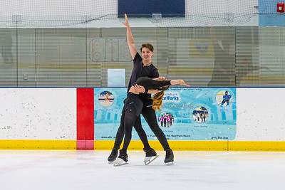 Temirlan Yerzhanov (24) and Maxine Weatherby (19), from Boca Raton, finish their ice dancing routine at Palm Beach Ice Works in West Palm Beach on Friday, December 13, 2020.  Weatherby and Yerzhanov have been ice dancing partners for two years and will be representing Kazakhstan - Yerzhanov's home country - in the Worlds in March 2021 in Sweden. Their goal is to qualify and skate in the 2022 Winter Olympics in China. (JOSEPH FORZANO / THE PALM BEACH POST)