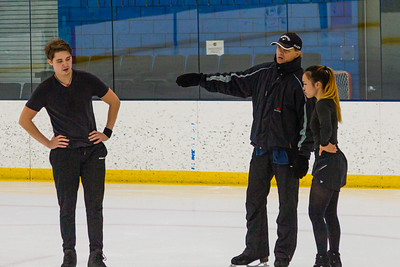2-time Olympic ice dancing gold medalist Evgeny Platov (center) coaches ice dancing duo, Temirlan Yerzhanov (left) and Maxine Weatherby at at Palm Beach Ice Works in West Palm Beach on Friday, December 13, 2020. Platov is one of three coaches that work with the ice dancing duo. Weatherby and Temirian are headed for Worlds in Sweden in March 2021 with an eye on the 2022 Olympics in China. (JOSEPH FORZANO / THE PALM BEACH POST)