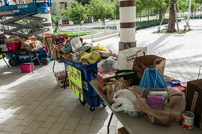 All of the non-perishable food donated at the Kravis Center for the Performing Arts Drive-Through Volunteer Salute, in West Palm Beach, Tuesday, November 17, 2020. The event was hosted to allow staff to thank the dedicated volunteers who devote their time and effort  at the Kravis Center throughout the year and also collect donated food for the Palm Beach Food Bank. (JOSEPH FORZANO / THE PALM BEACH POST)