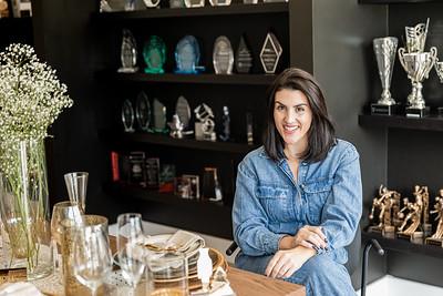 Caressa Gonzalez, co-owner of Manhattan Trophies in Lake Worth Beach, on Friday, November 20, 2020. (JOSEPH FORZANO / THE PALM BEACH POST)