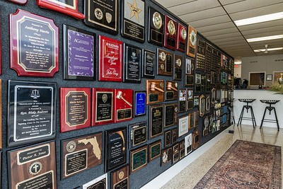 One of the many customizable plaques available at Manhattan Trophy on Dixie Highway in Lake Worth Beach, Friday, November 20, 2020. (JOSEPH FORZANO / THE PALM BEACH POST)