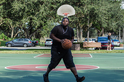 Nate Ferguson, 29, from Deerfield Beach practice his basketball game at Patch Reef Park in Boca Raton, Tuesday, November 24, 2020. Ferguson has been playing basketball since he was eight years old and plays at Patch Reef Park three times a week. (JOSEPH FORZANO / THE PALM BEACH POST)