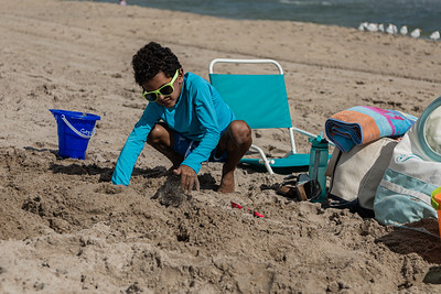 Greyson Pitts, 7, from West Delray Beach, builds a sandcastle on Delray Beach, Tuesday, November 24, 2020. Greyson was enjoying a day at the beach with his mother, Stephanie and brother Maddox. (JOSEPH FORZANO / THE PALM BEACH POST)