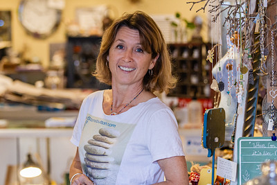 Portrait of Inge Skelly, owner of Stone Button Studio in Northwood Village, Saturday, November 28, 2020. A Northwood Village resident, Skelly had to close her shop for 79 days due to the COVID-19 pandemic and has been open since June 1, 2020. Skelly has owned her shop for five and a half years and is also the Vice President of of the Northwood Village Merchant Association. (JOSEPH FORZANO / THE PALM BEACH POST)