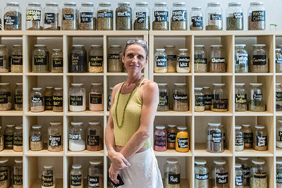 Portrait of Amy Ashway, owner of Herbs & Earth, at her shop in Northwood Village, Saturday, November 28, 2020. Ashway has owned shop for two and a half years and never really closed during the COVID-19 pandemic; she filled customer orders at the front door, not allowing anyone in the store. (JOSEPH FORZANO / THE PALM BEACH POST)
