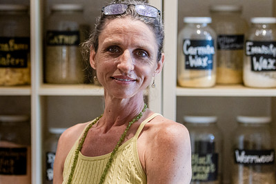 Headshot of Amy Ashway, owner of Herbs & Earth, at her shop in Northwood Village, Saturday, November 28, 2020. Ashway has owned shop for two and a half years and never really closed during the COVID-19 pandemic; she filled customer orders at the front door, not allowing anyone in the store. (JOSEPH FORZANO / THE PALM BEACH POST)