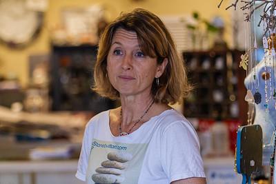 Inge Skelly, owner of Stone Button Studio in Northwood Village, in her shop on Northwood Road, Saturday, November 28, 2020. A Northwood Village resident, Skelly had to close her shop for 79 days due to the COVID-19 pandemic and has been open since June 1, 2020. Skelly has owned her shop for five and a half years and is also the Vice President of of the Northwood Village Merchant Association. (JOSEPH FORZANO / THE PALM BEACH POST)