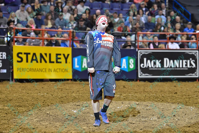 Ring announcer and clown FLINT RASMUSSEN during the third round at the Professional Bull Riders Built Ford Tough Series, Bass Pro Chute Out presented by Cooper Tires at the Scottrade Center in St. Louis, Missouri