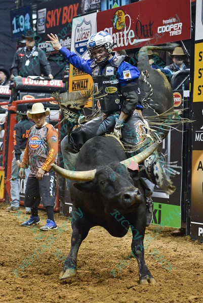 Rider RYAN DIRTEATER  on bull LITTLE JOE during the first round at the Professional Bull Riders Built Ford Tough Series, Bass Pro Chute Out presented by Cooper Tires at the Scottrade Center in St. Louis, Missouri