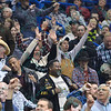 Fans react during the third round at the Professional Bull Riders Built Ford Tough Series, Bass Pro Chute Out presented by Cooper Tires at the Scottrade Center in St. Louis, Missouri