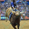 Rider KAIQUE PACHECO has a successful ride on bull LITTLE RED JACKET during the second round at the Professional Bull Riders Built Ford Tough Series presented by Cooper Tires at the Scottrade Center in St. Louis, Missouri