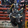 Rider CODY NANCE  with bull bull THE ROCKER during the third round at the Professional Bull Riders Built Ford Tough Series, Bass Pro Chute Out presented by Cooper Tires at the Scottrade Center in St. Louis, Missouri