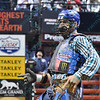 Rider ROBSON ARAGAO celebrates a successful ride during the final round at the Professional Bull Riders Built Ford Tough Series, Bass Pro Chute Out presented by Cooper Tires at the Scottrade Center in St. Louis, Missouri