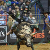 Rider L.J. JENKINS shows strong form in his successful ride on bull LOCOMOTION during the first round at the Professional Bull Riders Built Ford Tough Series, Chute Out presented by Cooper Tires at the Scottrade Center in St. Louis, Missouri