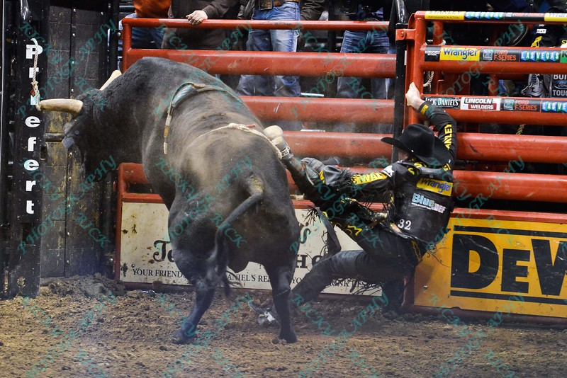 Rider DOUGLAS DUNCAN  gets tossed into the rail walls by bull HOU'S BACK during the championship round at the Professional Bull Riders Built Ford Tough Series, Bass Pro Chute Out presented by Cooper Tires at the Scottrade Center in St. Louis, Missouri