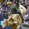 Rider J.B. MAUNEY rides bull PISTOL PETE during the first round at the Professional Bull Riders Built Ford Tough Series, Chute Out presented by Cooper Tires at the Scottrade Center in St. Louis, Missouri