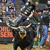 Rider FABIANO VIEIRA on bull JARED ALLEN'S H4WW THUMBS UP during the second round at the Professional Bull Riders Built Ford Tough Series, Bass Pro Chute Out presented by Cooper Tires at the Scottrade Center in St. Louis, Missouri