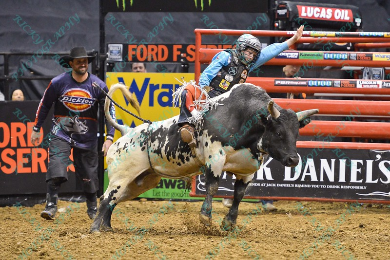 junior bull rider FLETCHER JOWERS during the final round at the Professional Bull Riders Built Ford Tough Series, Bass Pro Chute Out presented by Cooper Tires at the Scottrade Center in St. Louis, Missouri