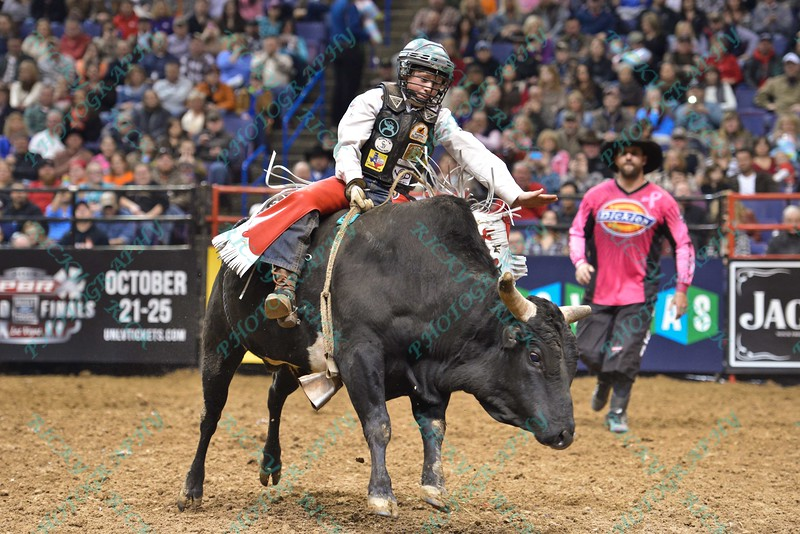 junior bull rider FLETCHER JOWERS during the second round at the Professional Bull Riders Built Ford Tough Series, Bass Pro Chute Out presented by Cooper Tires at the Scottrade Center in St. Louis, Missouri