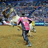 Rider BEN JONES  gets tossed head over heals from bull WHO DEY during the second round at the Professional Bull Riders Built Ford Tough Series presented by Cooper Tires at the Scottrade Center in St. Louis, Missouri