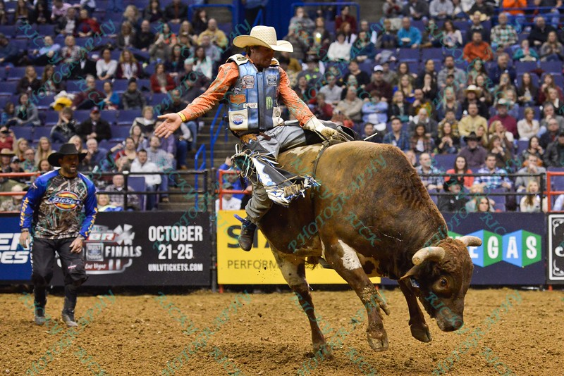 Rider DAVE MASON during his re-ride the first round at the Professional Bull Riders Built Ford Tough Series, Chute Out presented by Cooper Tires at the Scottrade Center in St. Louis, Missouri