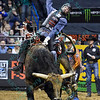 Rider KASEY HAYES  on bull WESTERN WAY during the first round at the Professional Bull Riders Built Ford Tough Series, Chute Out presented by Cooper Tires at the Scottrade Center in St. Louis, Missouri