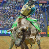 Rider STETSON LAWRENCE completes a successful ride on bull JARED ALLEN'S H4WW RED TERROR during the second round at the Professional Bull Riders Built Ford Tough Series presented by Cooper Tires at the Scottrade Center in St. Louis, Missouri