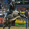 Rider L.J. JENKINS on bull LOCOMOTION during the first round at the Professional Bull Riders Built Ford Tough Series, Bass Pro Chute Out presented by Cooper Tires at the Scottrade Center in St. Louis, Missouri