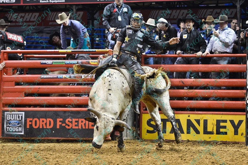 Rider VALDIRON DE OLIVEIRA on bull HD during the final round at the Professional Bull Riders Built Ford Tough Series, Bass Pro Chute Out presented by Cooper Tires at the Scottrade Center in St. Louis, Missouri
