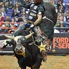 Rider FABIANO VIEIRA completes a successful ride on bull JARED ALLEN'S H4WW THUMBS UP during the second round at the Professional Bull Riders Built Ford Tough Series presented by Cooper Tires at the Scottrade Center in St. Louis, Missouri