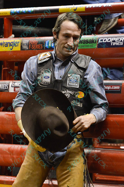 Rider BEN JONES  looks down after being bucked during the first round at the Professional Bull Riders Built Ford Tough Series, Bass Pro Chute Out presented by Cooper Tires at the Scottrade Center in St. Louis, Missouri