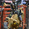 Rider L.J. JENKINS on bull MR. U during the third round at the Professional Bull Riders Built Ford Tough Series, Bass Pro Chute Out presented by Cooper Tires at the Scottrade Center in St. Louis, Missouri
